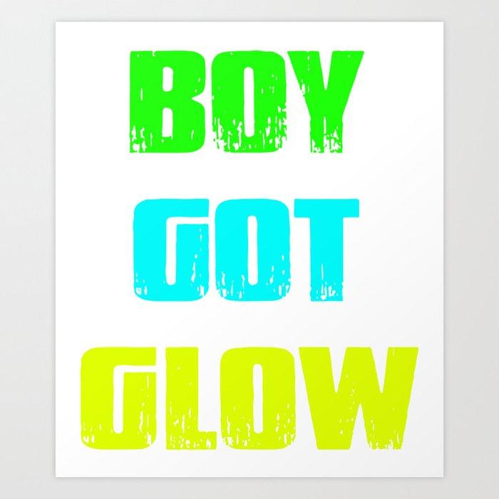 Boy Got Glow Party Shirt Neon 80s Birthday T Shirts Art Print