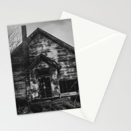 School's Out - Abandoned Schoolhouse in Iowa in Black and White Stationery Cards