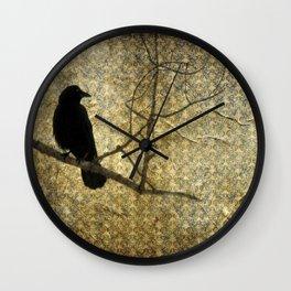 Crow Of Damask Wall Clock