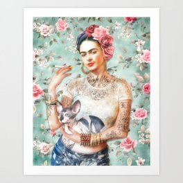 Frida's Exotic Cat Art Print