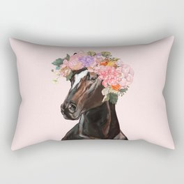 Horse with Flowers Crown in Pink Rectangular Pillow