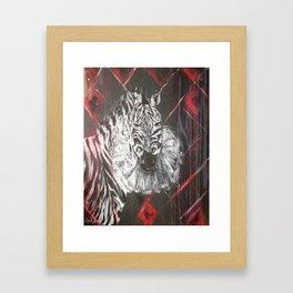 Sad Zebra Framed Art Print