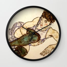 "Egon Schiele ""Reclining Woman with Green Stockings"" Wall Clock"