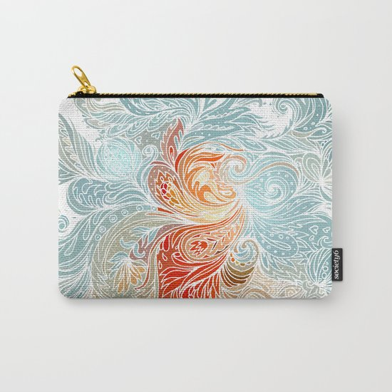 Light Blue Floral Indian Pattern Carry-All Pouch