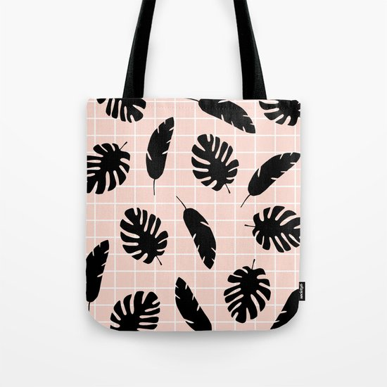 Graphic Tropical Leaves on Grid Black and Pink Tote Bag