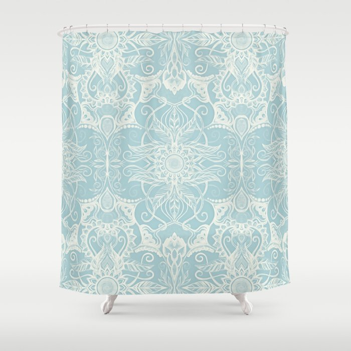Floral Pattern In Duck Egg Blue Cream Shower Curtain By Micklyn