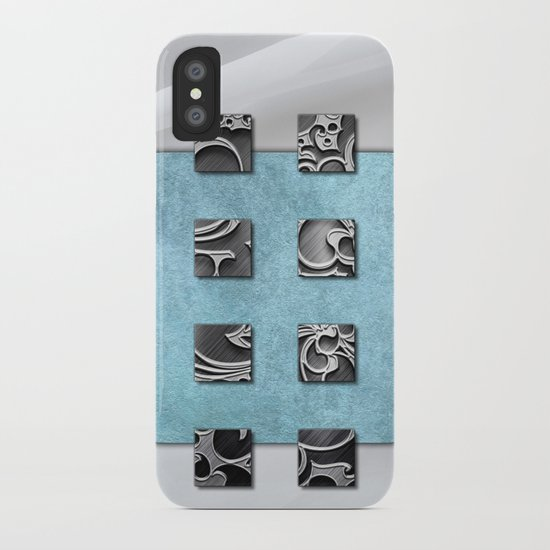 SQUARE AMBIENCE - white satin mixed-media collage iPhone Case