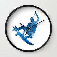 surf Wall Clocks featuring Surf by Sébastien BOUVIER