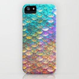 Aqua and Gold Mermaid Scales iPhone Case