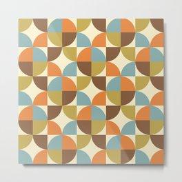 Mid Century Modern Geometric Pattern 328 Brown Olive Blue Orange and Beige Metal Print