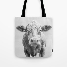Animal Photography | Cow Portrait Minimalism | Farm animals | black and white Tote Bag