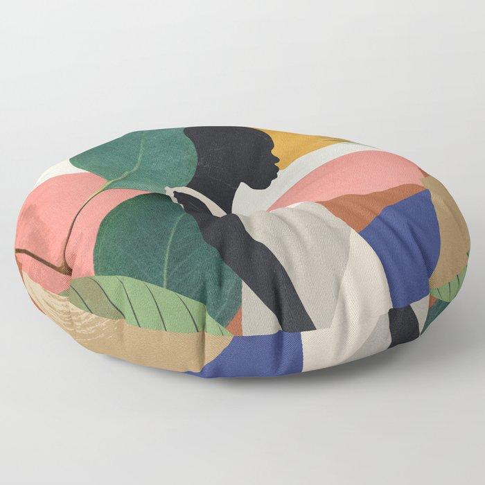Tropical Girl Floor Pillow