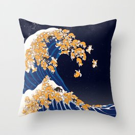 Shiba Inu The Great Wave in Night Throw Pillow