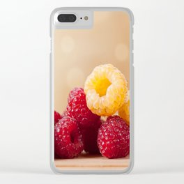 Fresh ripe red and golden raspberry fruits Clear iPhone Case