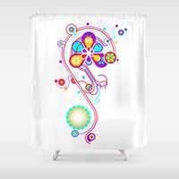 psychedelic Shower Curtains featuring Psychedelic by tuditees
