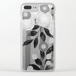 Black and White Flowers Design Clear iPhone Case