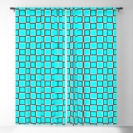 Turquoise geometric pattern. Squares. Tile design Blackout Curtain