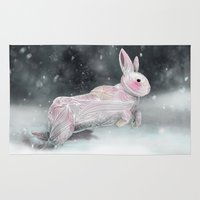 rabbit Area & Throw Rugs featuring White Rabbit by Ben Geiger