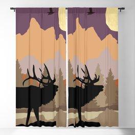 Mountain Caribou Scene Blackout Curtain