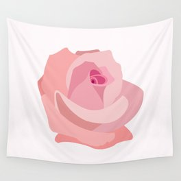 Pink Rose Illustration Wall Tapestry