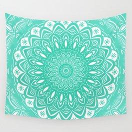Minimal Aqua Seafoam Mint Green Mandala Simple Minimalistic Wall Tapestry