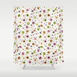 I love Cats - Cat Lovers Heart Flower Meadow - Pink & Spring Green Feline Meow Shower Curtain