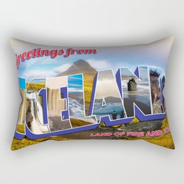 Greetings from Iceland Postcard Rectangular Pillow