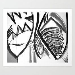 Abstract Dreams in black and white, pillow Art Print