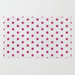 Abstract neon pink white faux glitter stars pattern Rug