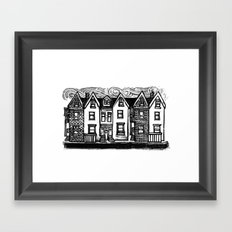 Row Houses - Linocut Framed Art Print