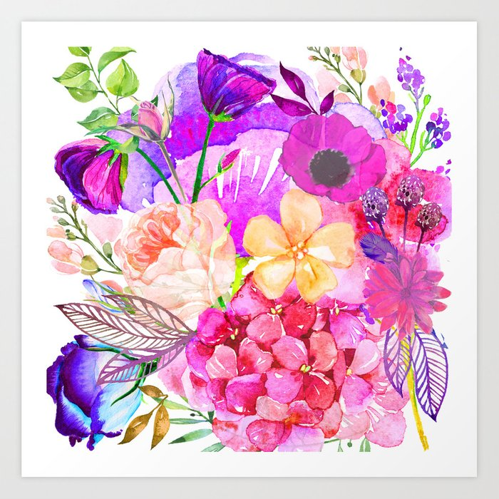 Colorful Bright Spring Floral Watercolor Collage Pillow Art Print By