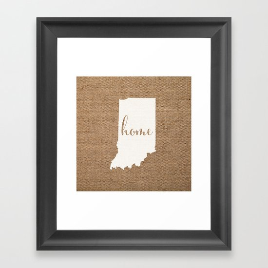 Indiana is Home - White on Burlap by yellow13design