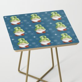 Blue Winter Gnome Pattern Side Table