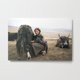 Tibetan nomadic yak herder Metal Print