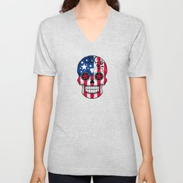 Sugar Skull with Roses and Flag of The United States Unisex V-Neck