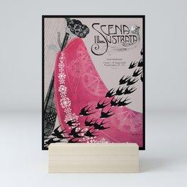 Nouveau Woman with Birds Mini Art Print