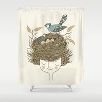 hair Shower Curtains featuring Bird Hair Day by Monica Gifford