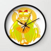 sailor venus Wall Clocks featuring Sailor Venus by Glopesfirestar