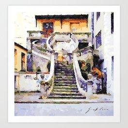 Catanzaro: flight of steps Art Print