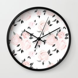 Vintage Blush Floral BW -medium Wall Clock