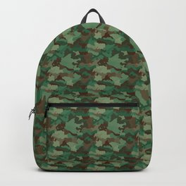 Small Military Army Green and Khaki Brown Camo Camouflage Print Backpack