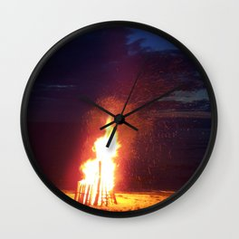 Blazing Beach Bonfire Wall Clock