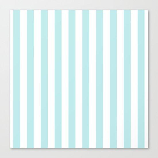 Striped- Turquoise vertikal stripes on white- Maritime Summer Beach Canvas Print