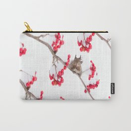 Cute Squirrel With Red Rowan Berries On A White Background #decor #society6 #buyart Carry-All Pouch