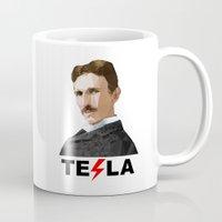 tesla Mugs featuring Tesla by Vi Sion