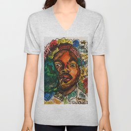 rapper,lyric,smoke,wall art,fan art,music,hiphop,rap,rapper,legend,shirt,print,chancee Unisex V-Neck