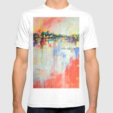 on the water,  expressive landscape, abstract MEDIUM White Mens Fitted Tee