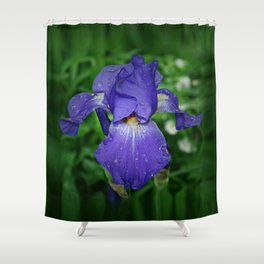 Cool blue-violet Iris 'Sea Master' Shower Curtain