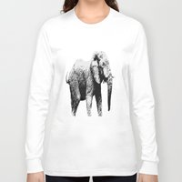african Long Sleeve T-shirts featuring African Elephant by T.E.Perry