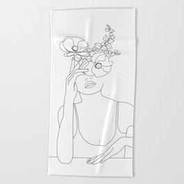 Minimal Line Art Woman with Flowers II Beach Towel